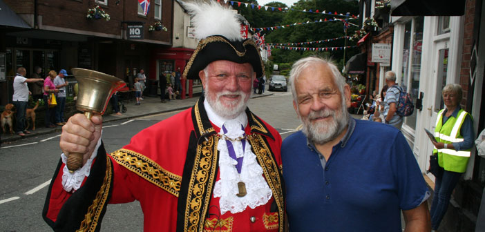 Town Crier Peter Powell and local historian and fellow local councillor Joe Griffiths
